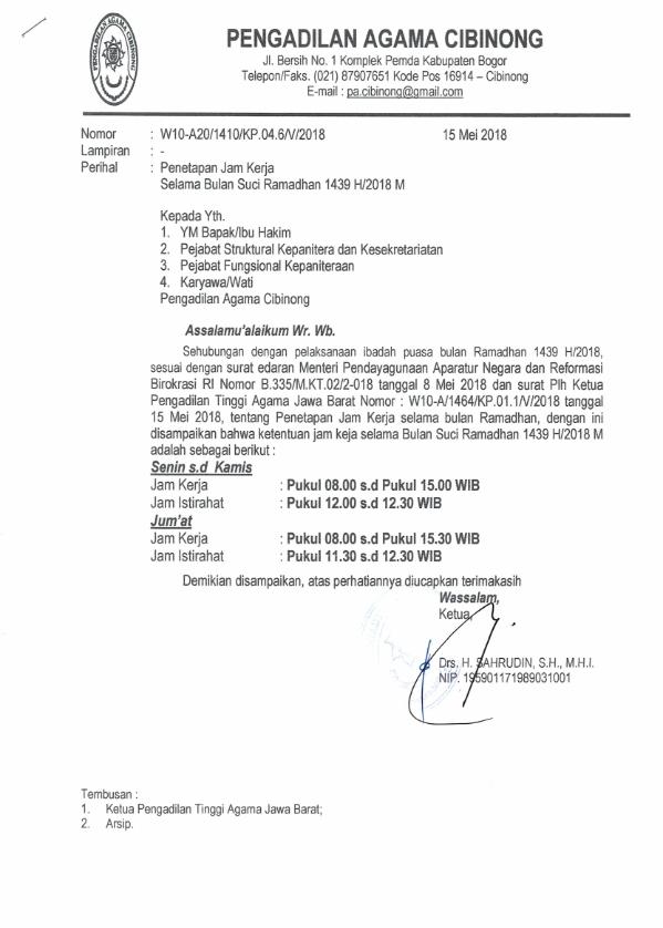 Jam Kerja Pengadilan Agama Cibinong Selama Bulan Ramadhan 1439 H